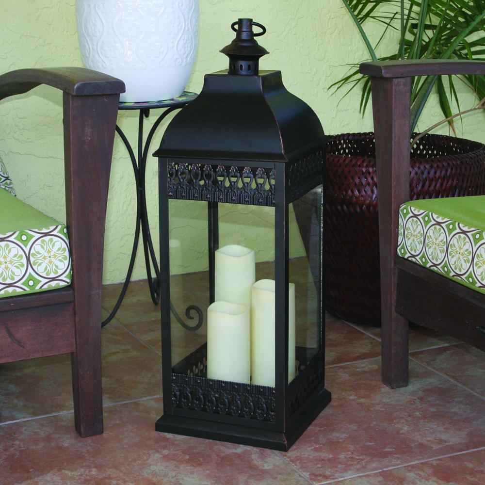 San Nicola Triple Led Candle Lantern For Outdoor Oversized Lanterns (View 3 of 20)