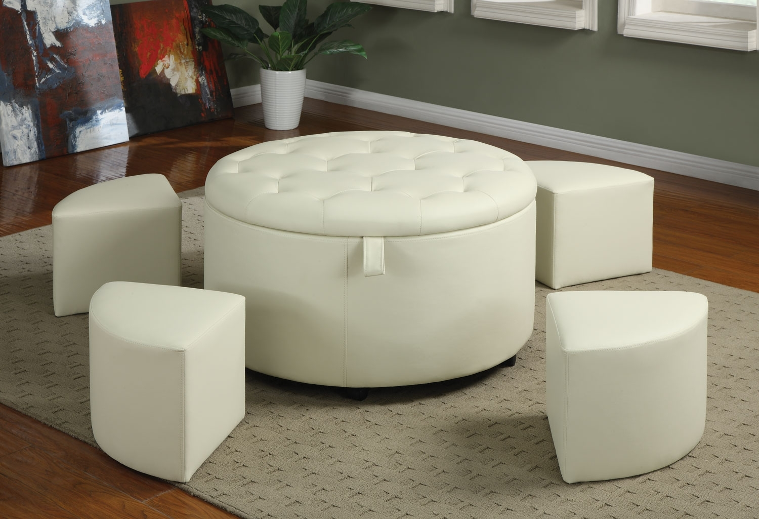 Saving Small Spaces Living Room Design Using White Round Leather throughout Round Button Tufted Coffee Tables (Image 24 of 30)