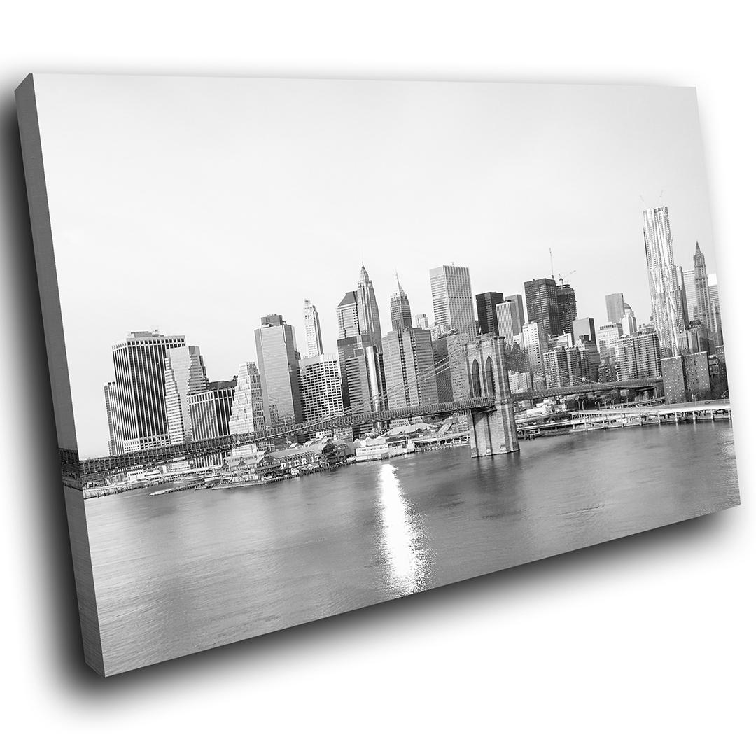 Sc317 Black White New York City Scenic Wall Art Picture Large Canvas in New York City Wall Art (Image 18 of 20)
