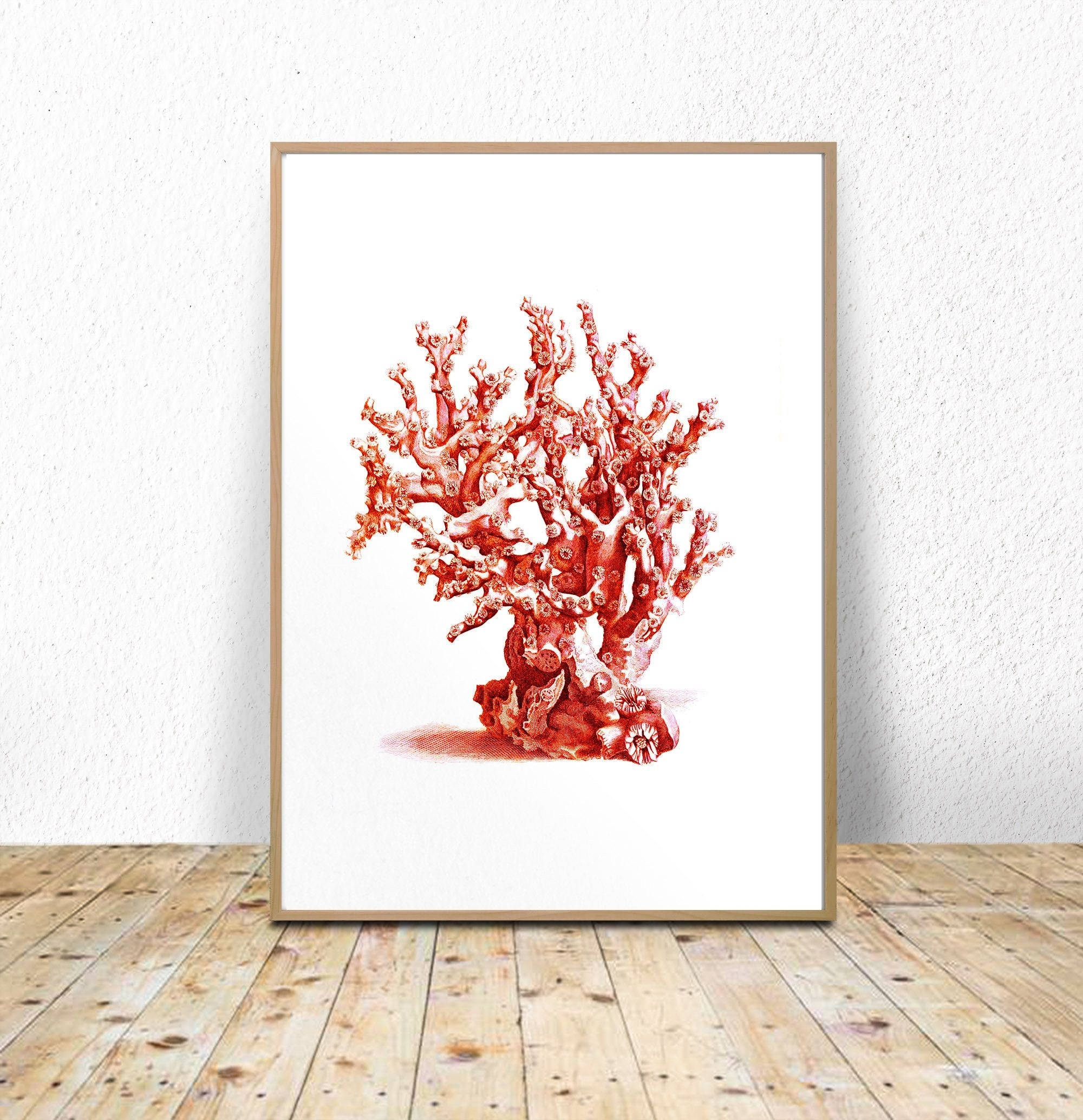 Sea Coral Printable, Red Sea Coral, Coral Wall Art, Digital Download in Coral Wall Art (Image 12 of 20)