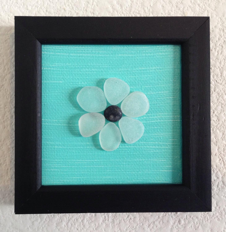 Sea Glass Art/ Pebble Art/ Canvas Art/ Framed Art/ Acrylic, Sea inside Sea Glass Wall Art (Image 11 of 20)