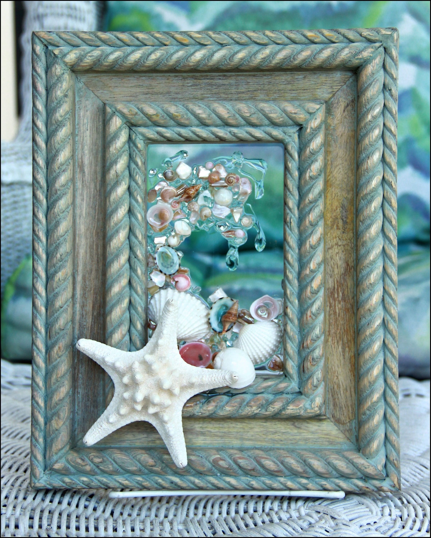 Sea Glass Art With Starfish, Seashell Art, Beach Home Decor Wall regarding Sea Glass Wall Art (Image 10 of 20)