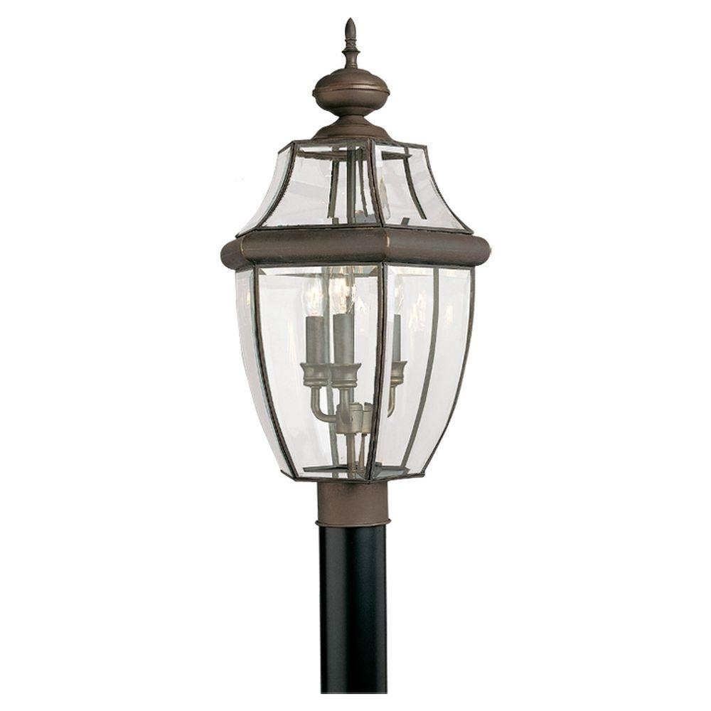 Sea Gull Lighting Lancaster 3-Light Outdoor Antique Bronze Post Top inside Outdoor Lanterns On Post (Image 20 of 20)