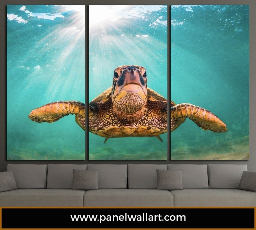 Sea Turtle | Ocean Creatures Multi Panel Canvas | Panel Wallart With Sea Turtle Canvas Wall Art (View 15 of 20)