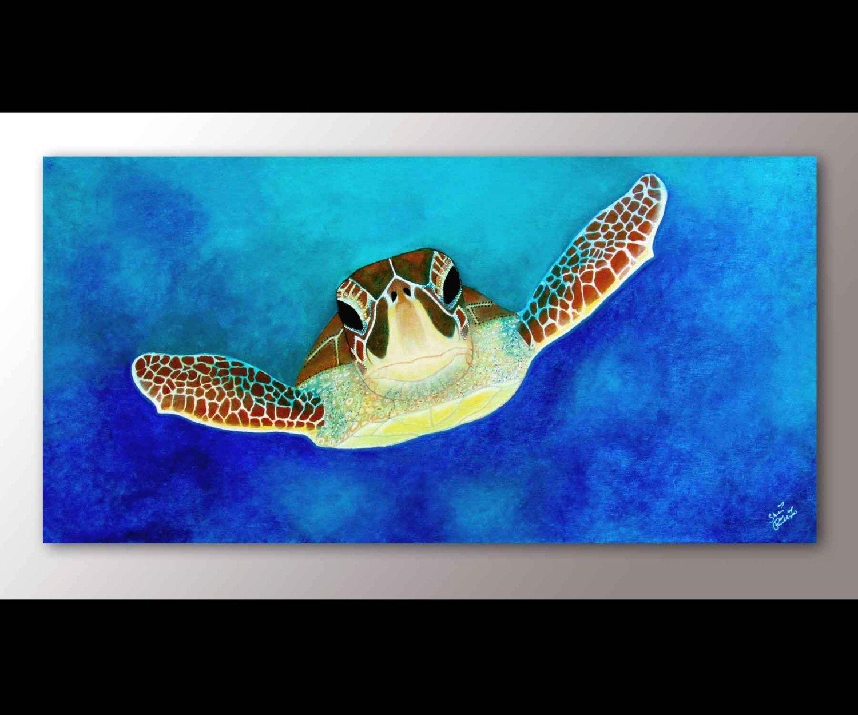 Sea Turtle Painting Print | Sea Turtle Art | Sea Turtle Decor | Sea throughout Sea Life Wall Art (Image 17 of 20)