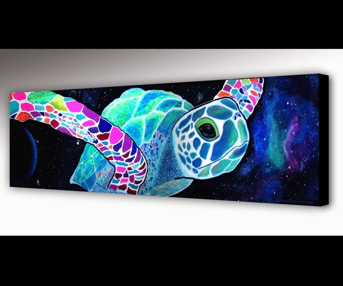 Sea Turtle Paintings Canvas Awesome Sea Turtle Wall Art Outer Space pertaining to Sea Turtle Canvas Wall Art (Image 13 of 20)