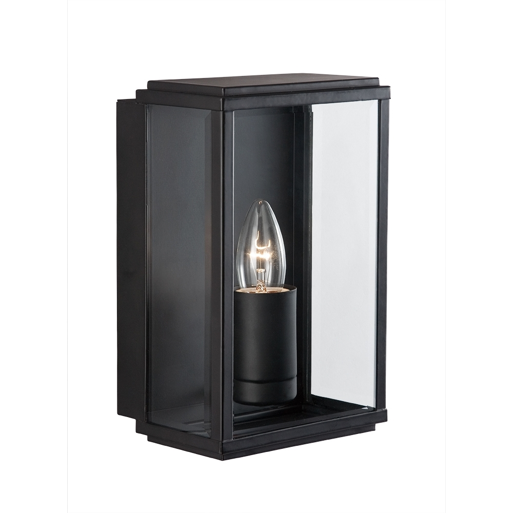 Searchlight 8204Bk Outdoor Lighting Black Finish Glass Lantern From Inside Outdoor Glass Lanterns (Photo 14 of 20)