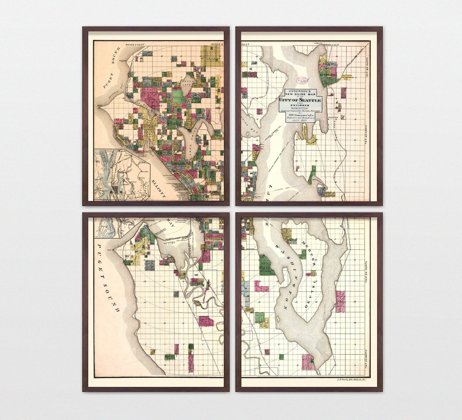 Seattle Map – Antique Map – Archival Reproduction – Seattle Throughout Seattle Map Wall Art (View 4 of 20)