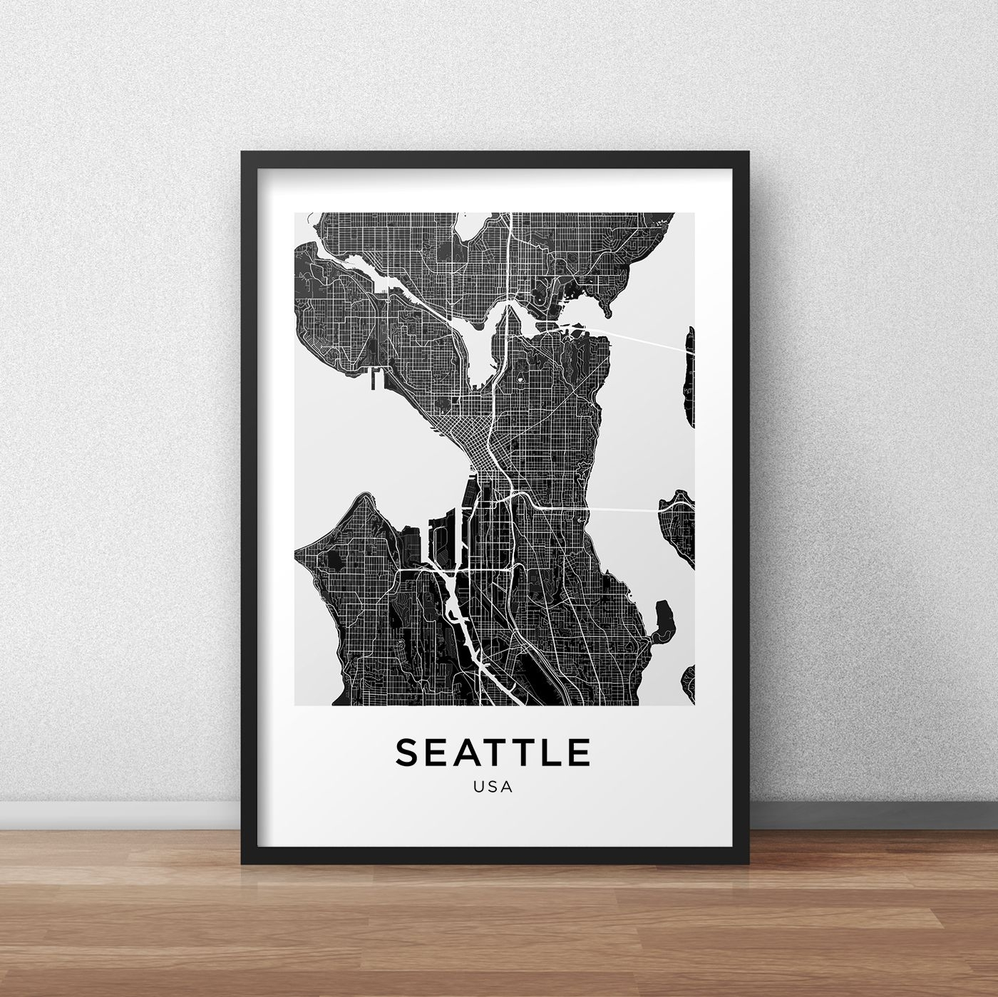 Seattle Map Print, Printable Seattle Map, Seattle City Map, Seattle Regarding Seattle Map Wall Art (View 5 of 20)