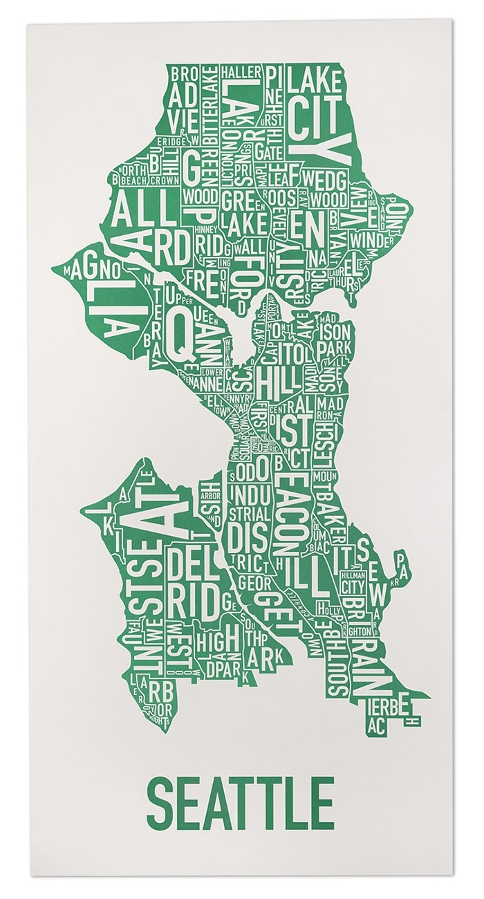 Seattle Neighborhood Type Map Posters & Prints – Made In The Usa With Seattle Map Wall Art (View 12 of 20)