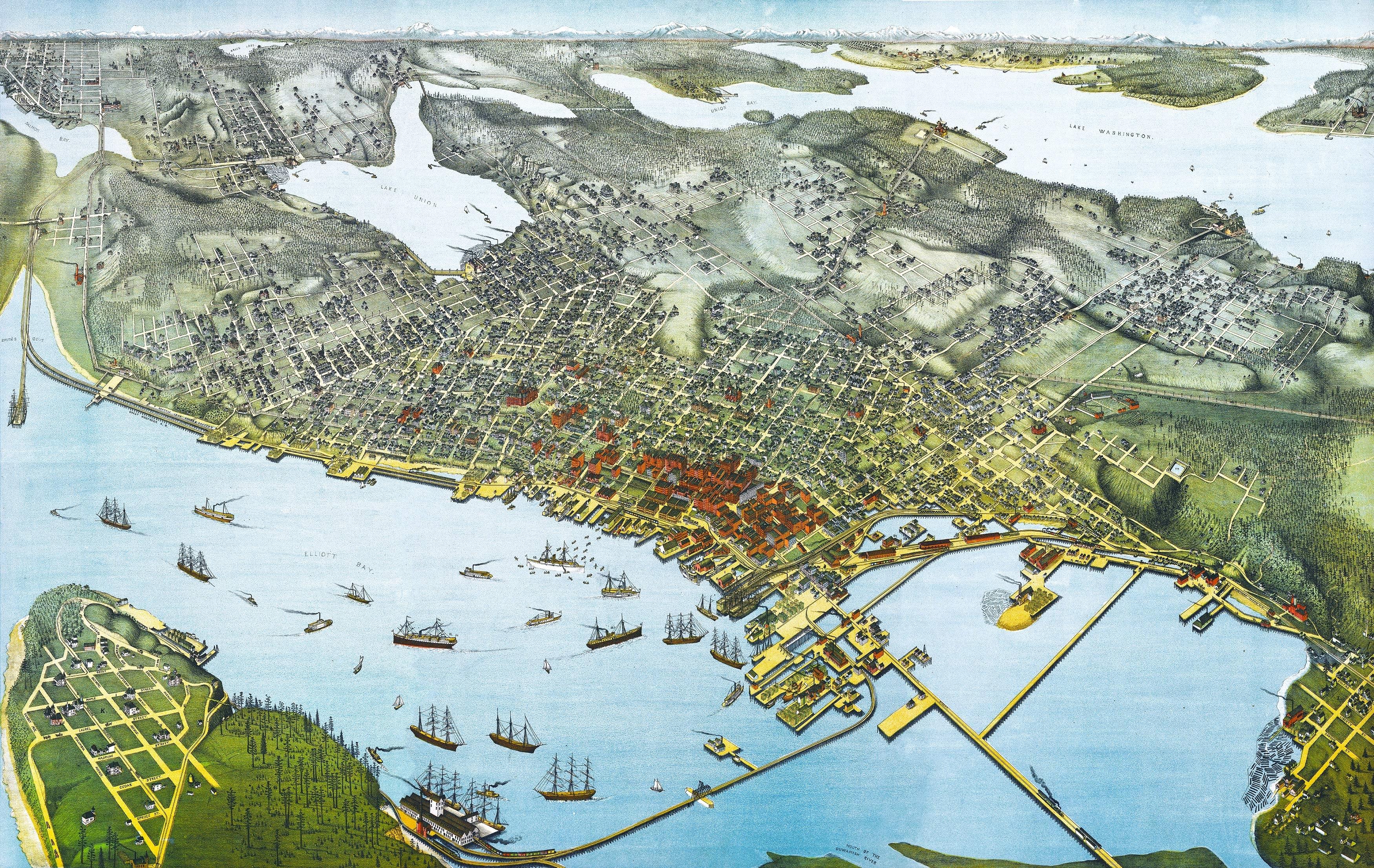 Seattle, Wa Birds Eye View – 1891 Wall Map Mural Throughout Seattle Map Wall Art (View 16 of 20)