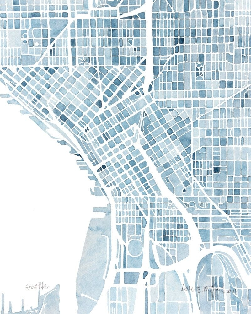 Seattle Washington Blueprint 10x8 City Map Watercolor Wall Art Ready Within Seattle Map Wall Art (View 3 of 20)