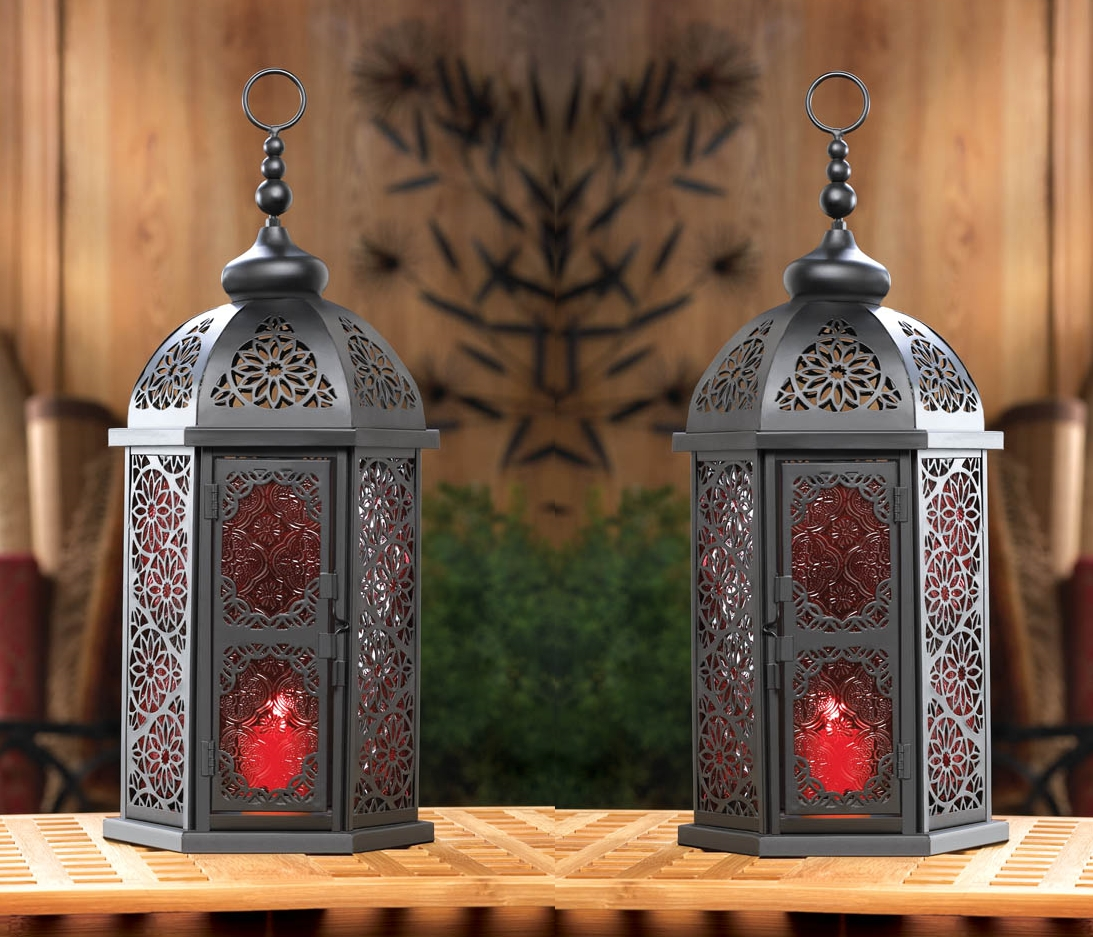 Set Of 2 Large Black Moroccan Lanterns With Vintage Style Red In Red Outdoor Table Lanterns (View 10 of 20)