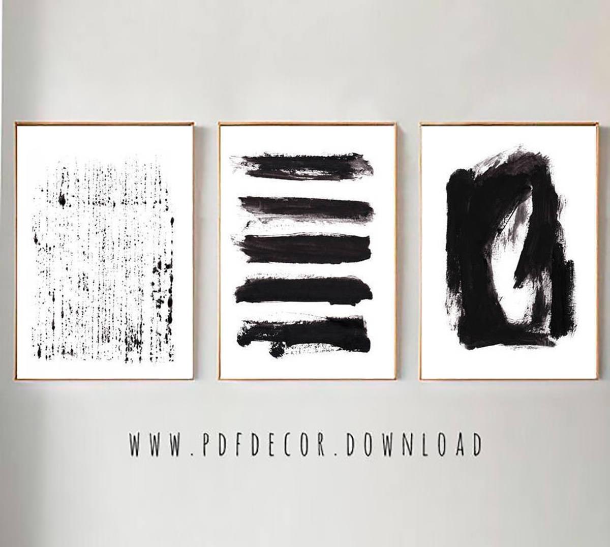 Set Of 3 Black Abstract Prints, Set Of 3 Wall Art, Abstract Wall Art pertaining to Black and White Wall Art (Image 18 of 20)
