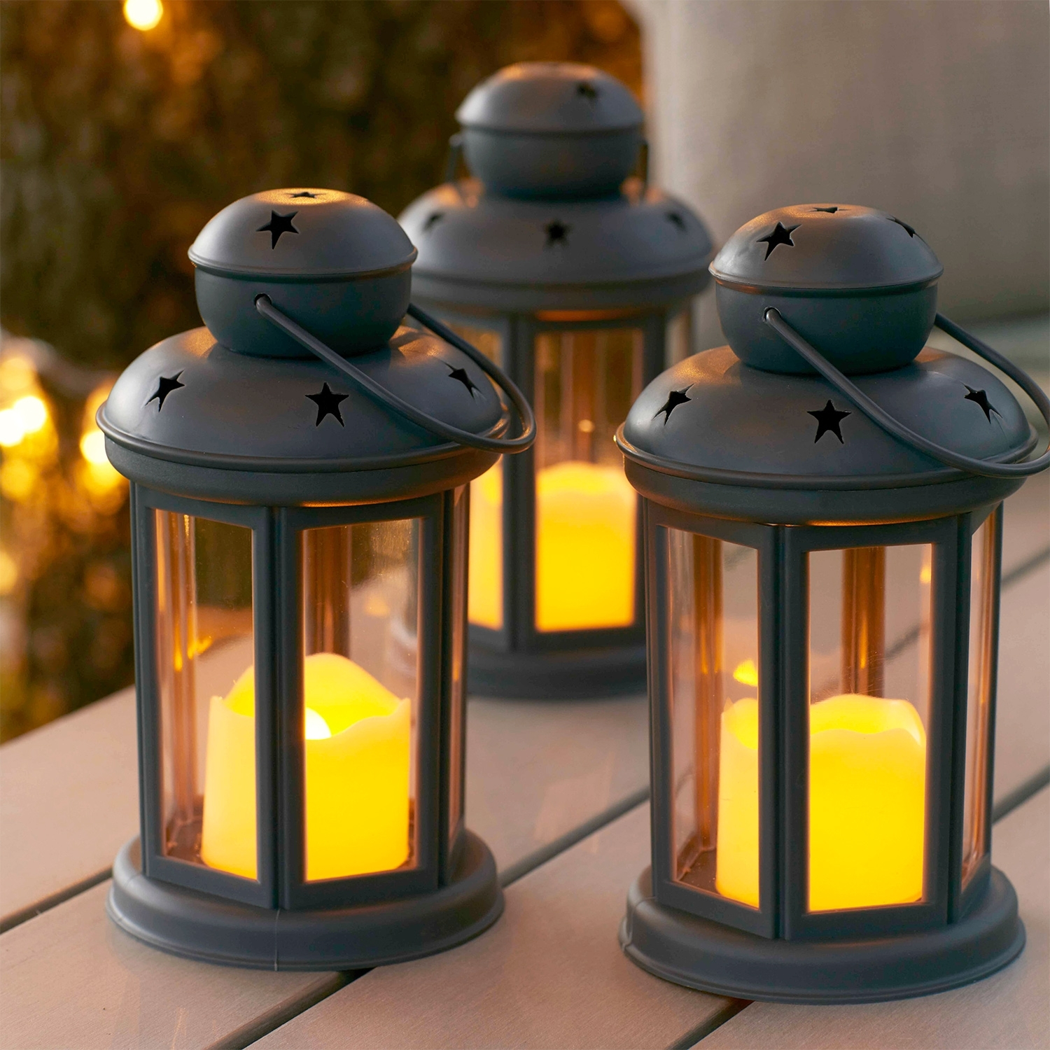 Set Of 3 Grey Battery Operated Led Indoor Outdoor Flameless Candle Intended For Set Of 3 Outdoor Lanterns (View 17 of 20)