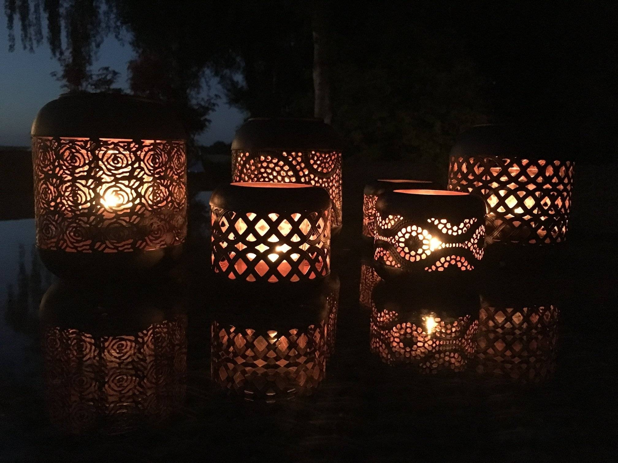 Set Of 4 Moroccan Copper Metal Tea Light Candle Holder Garden Lantern regarding Outdoor Tea Light Lanterns (Image 15 of 20)