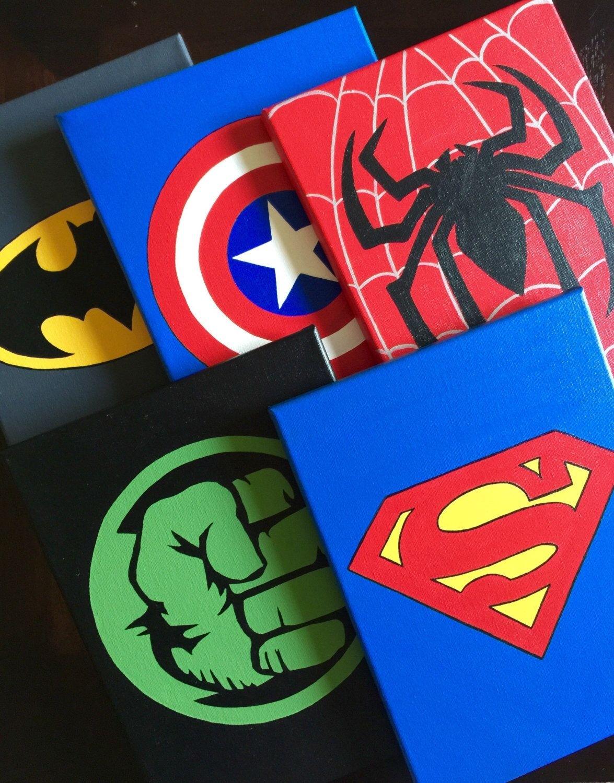 Set Of 5 Superhero Wall Art, Handmade Super Hero Canvas Paint Within Superhero Wall Art (View 12 of 20)