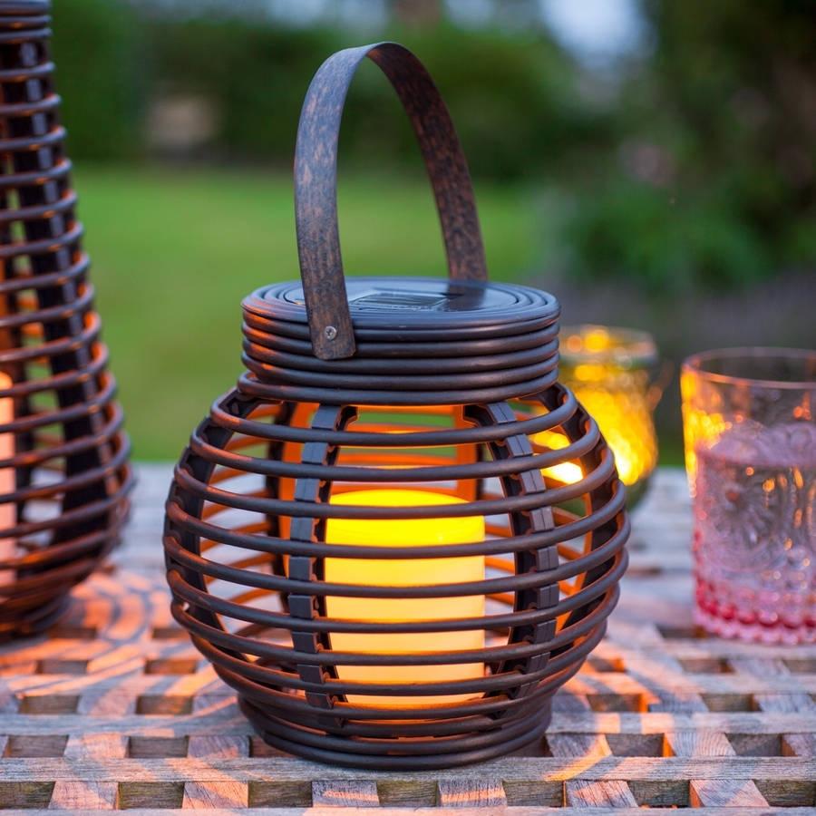 Set Of Two Rattan Solar Lanternslights4Fun | Notonthehighstreet regarding Outdoor Solar Lanterns (Image 13 of 20)