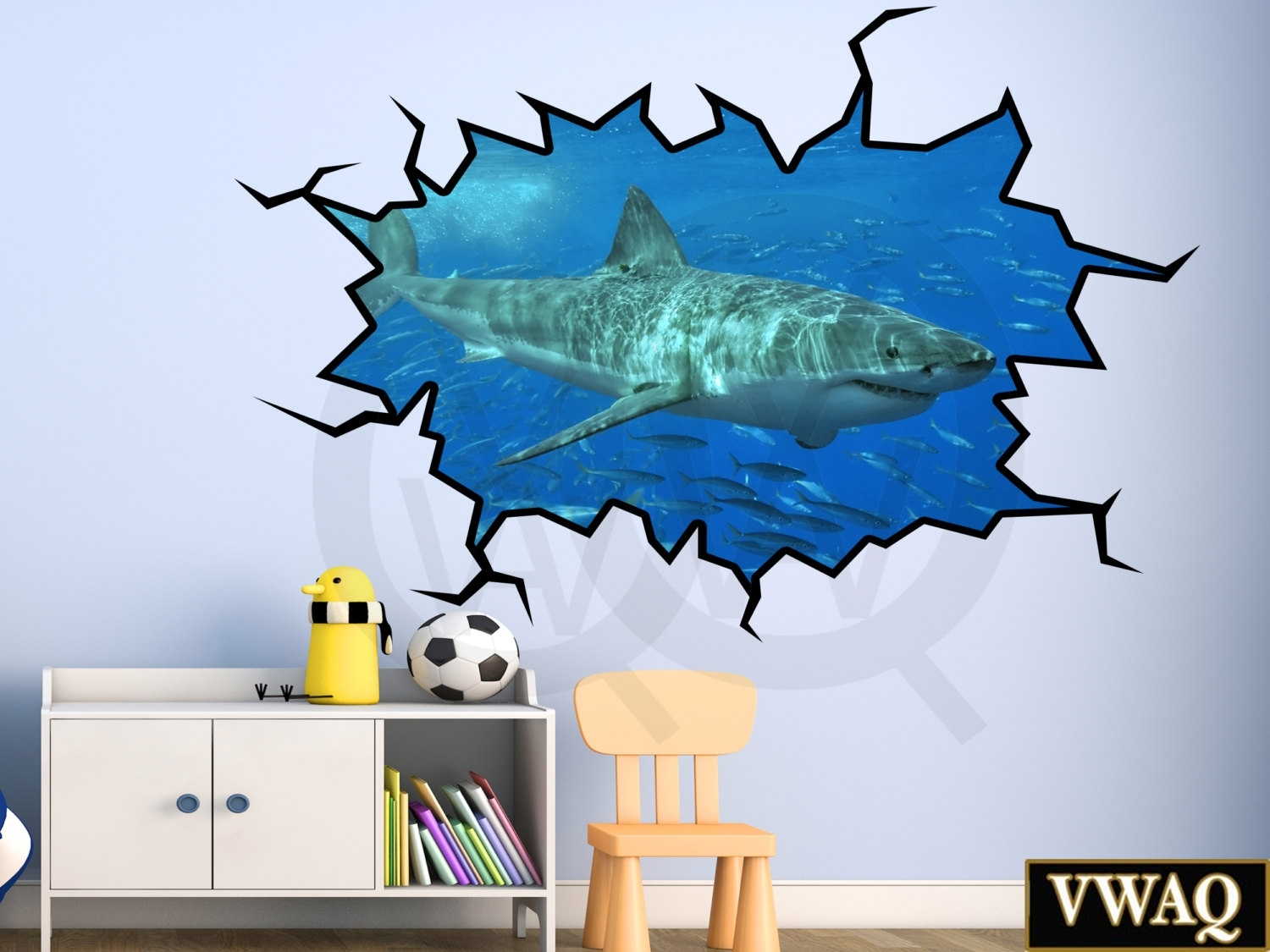 Shark Wall Decal 3D Wall Art Peel And Stick Great White Shark With Stick On Wall Art (View 15 of 20)