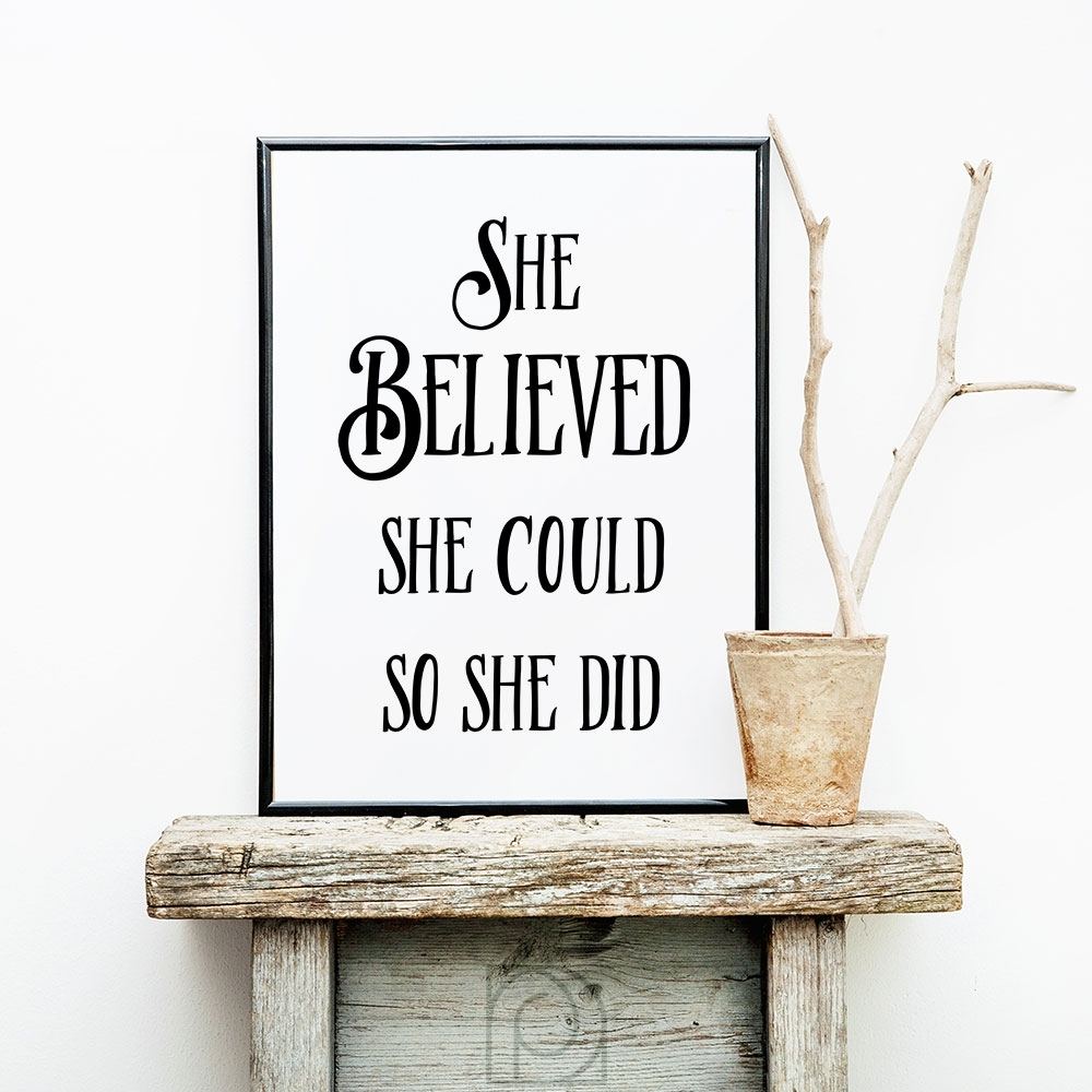 She Believed She Could, Inspirational Wall Art, Printable Art regarding She Believed She Could So She Did Wall Art (Image 19 of 20)