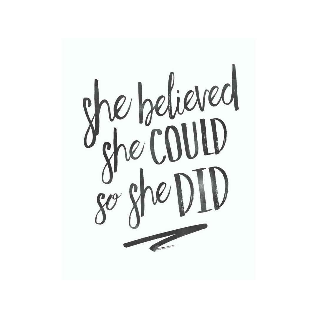 She Believed She Could So She Did Printable Wall Art | Printable intended for She Believed She Could So She Did Wall Art (Image 12 of 20)