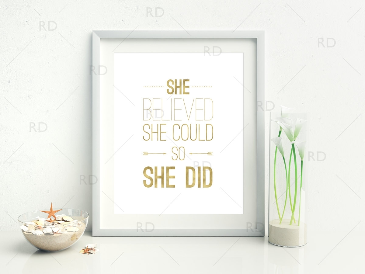 She Believed She Could So She Did Printable Wall Art / Quote | Etsy for She Believed She Could So She Did Wall Art (Image 11 of 20)