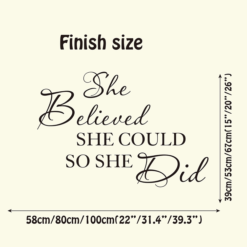 She Believed She Could So She Did Quote Wall Sticker Baby Nursery throughout She Believed She Could So She Did Wall Art (Image 13 of 20)
