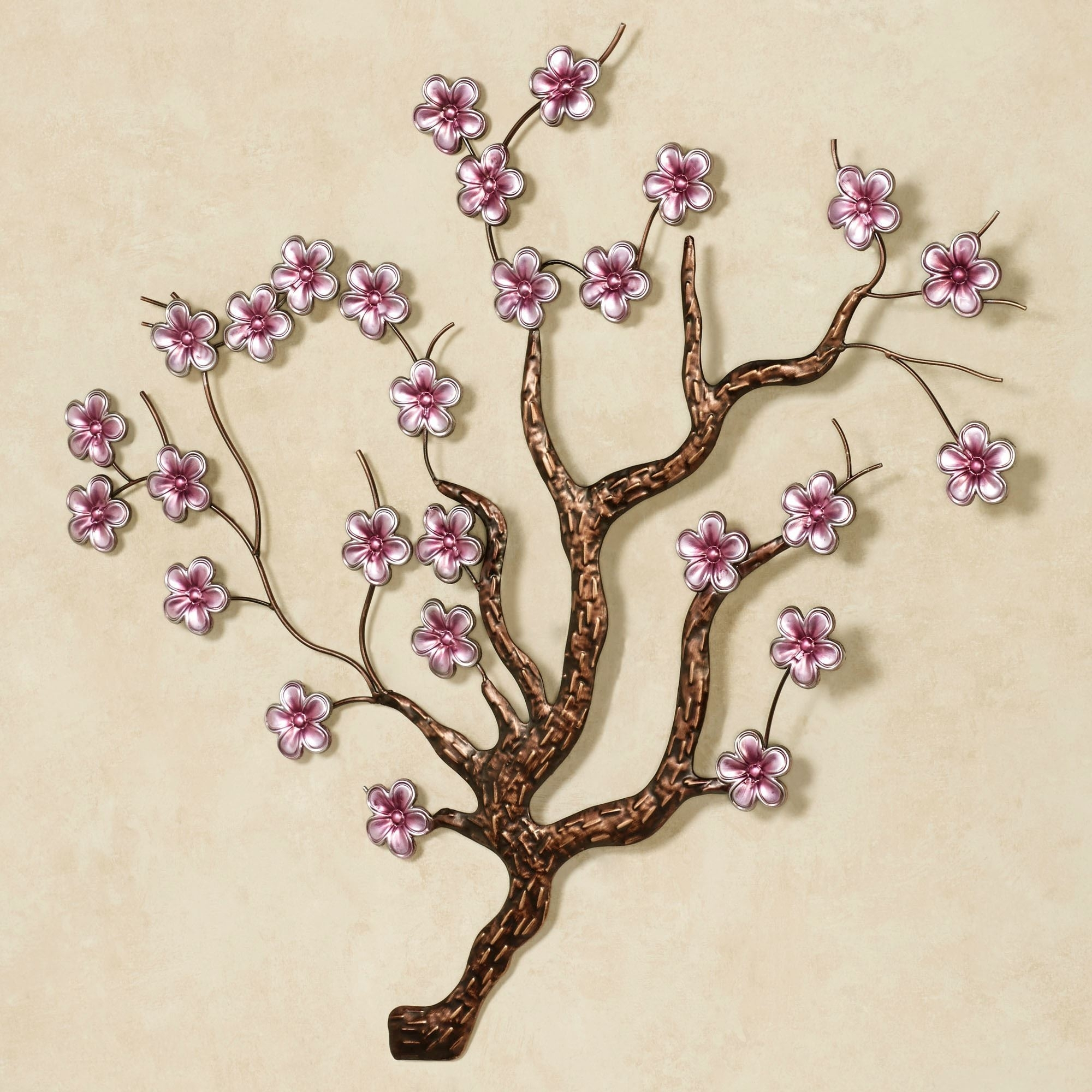 Shimmering Cherry Blossoms Metal Wall Art for Cherry Blossom Wall Art (Image 17 of 20)