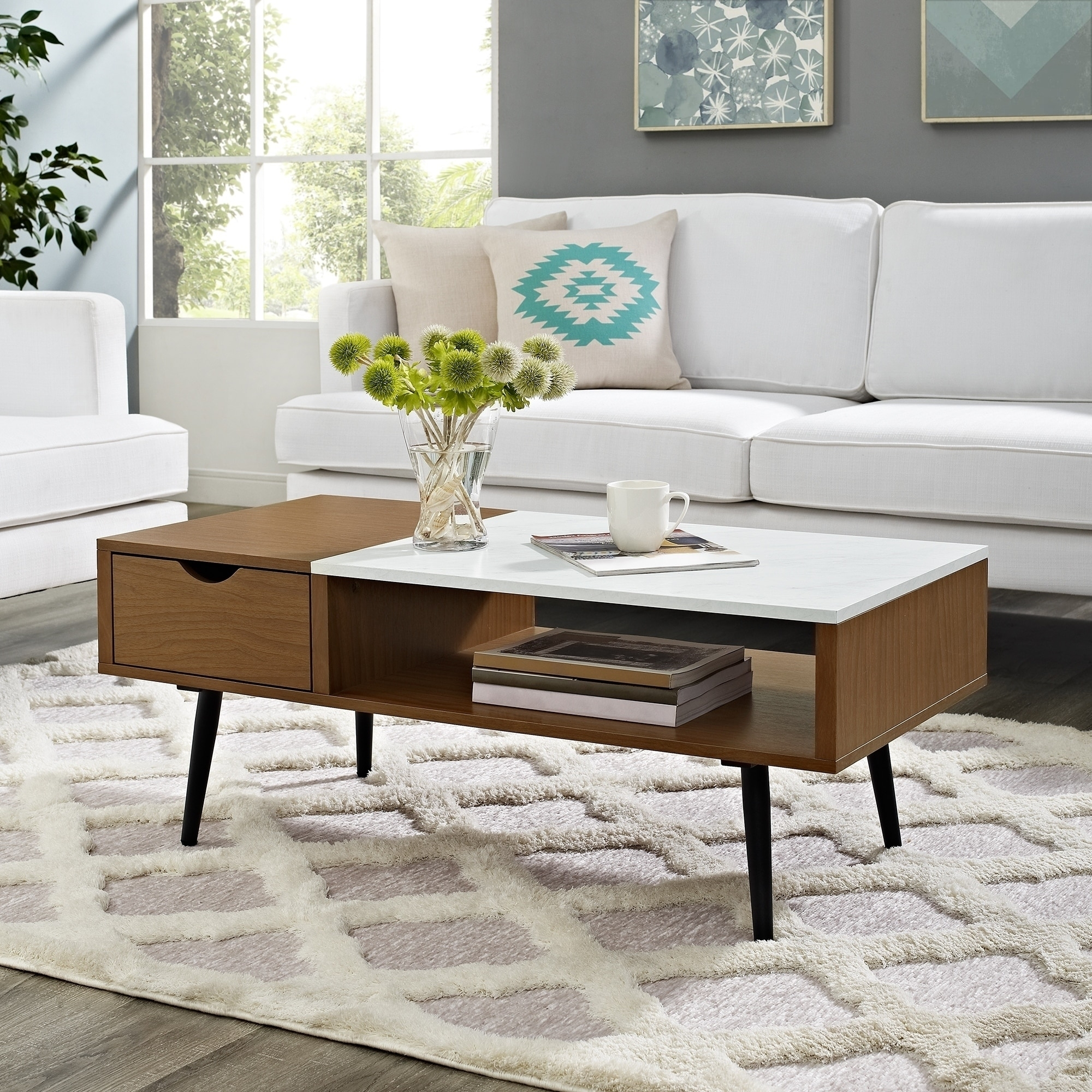 "Shop 42"" Mid-Century Modern Wood And Faux Marble Coffee Table - 42 X with regard to Mid-Century Modern Marble Coffee Tables (Image 28 of 30)"
