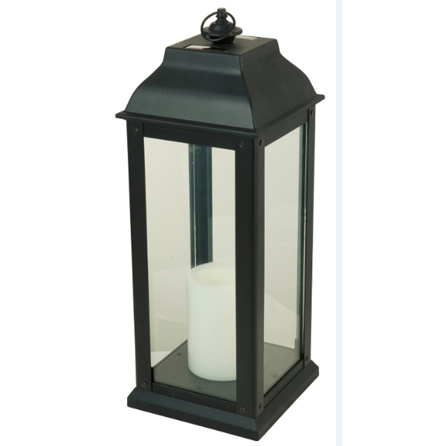 Shop 5.94-In X 16-In Black Glass Solar Outdoor Decorative Lantern At within Outdoor Iron Lanterns (Image 16 of 20)