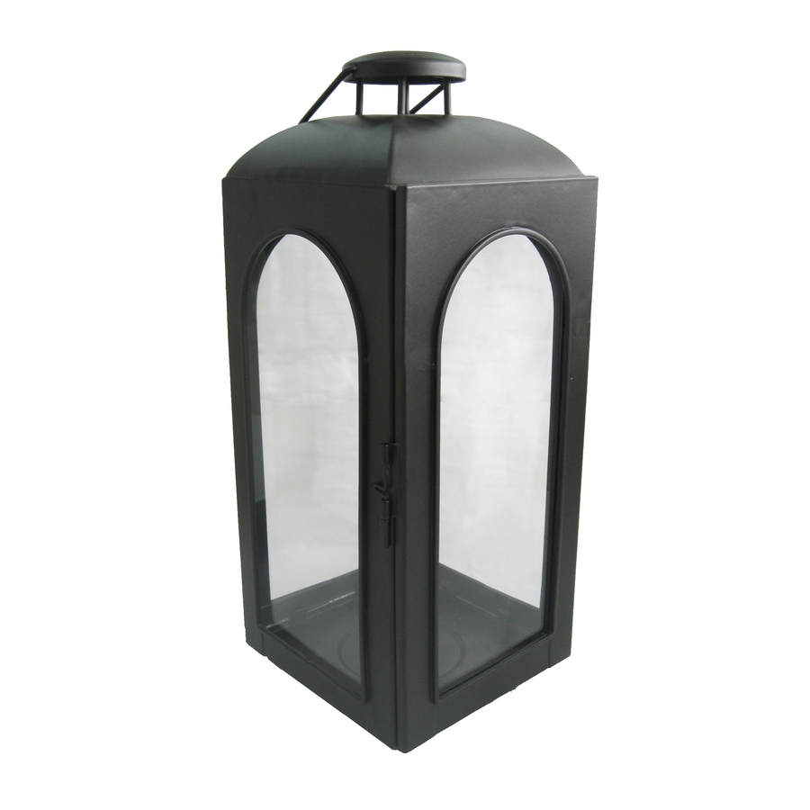 Shop Allen + Roth 15.35-In Black Metal Pillar Candle Outdoor within Outdoor Pillar Lanterns (Image 16 of 20)