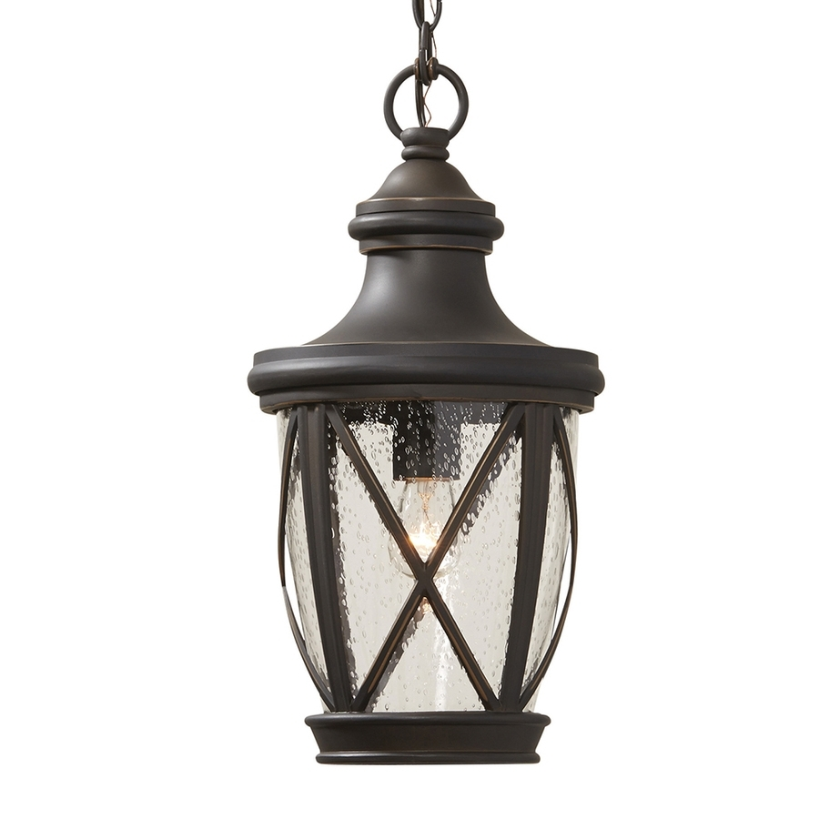 Shop Allen + Roth Castine Rubbed Bronze Vintage Seeded Glass pertaining to Outdoor Pendant Lanterns (Image 16 of 20)