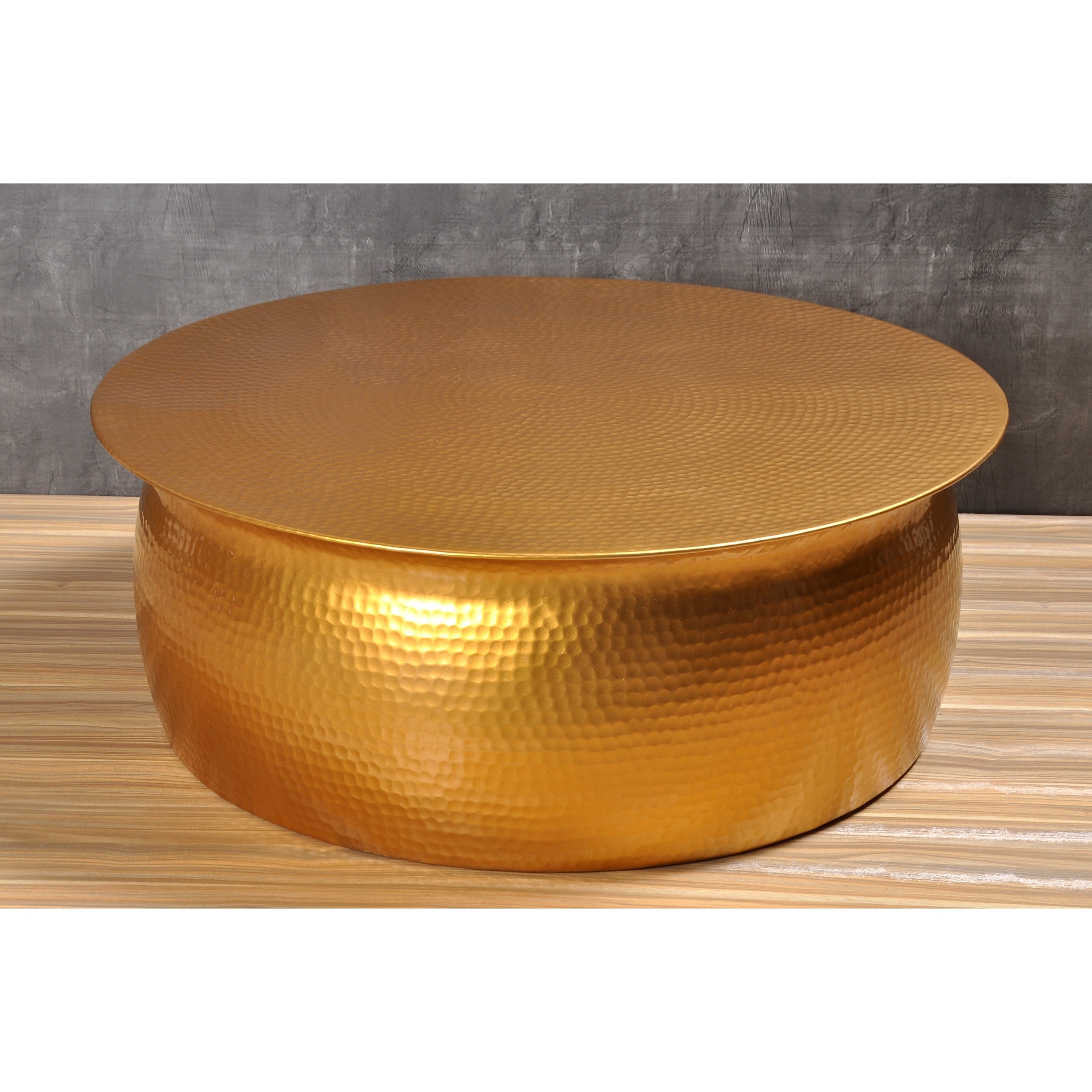 Shop Amrah Home Goldtone Hammered Aluminum Coffee Table - Free in Cuff Hammered Gold Coffee Tables (Image 17 of 30)
