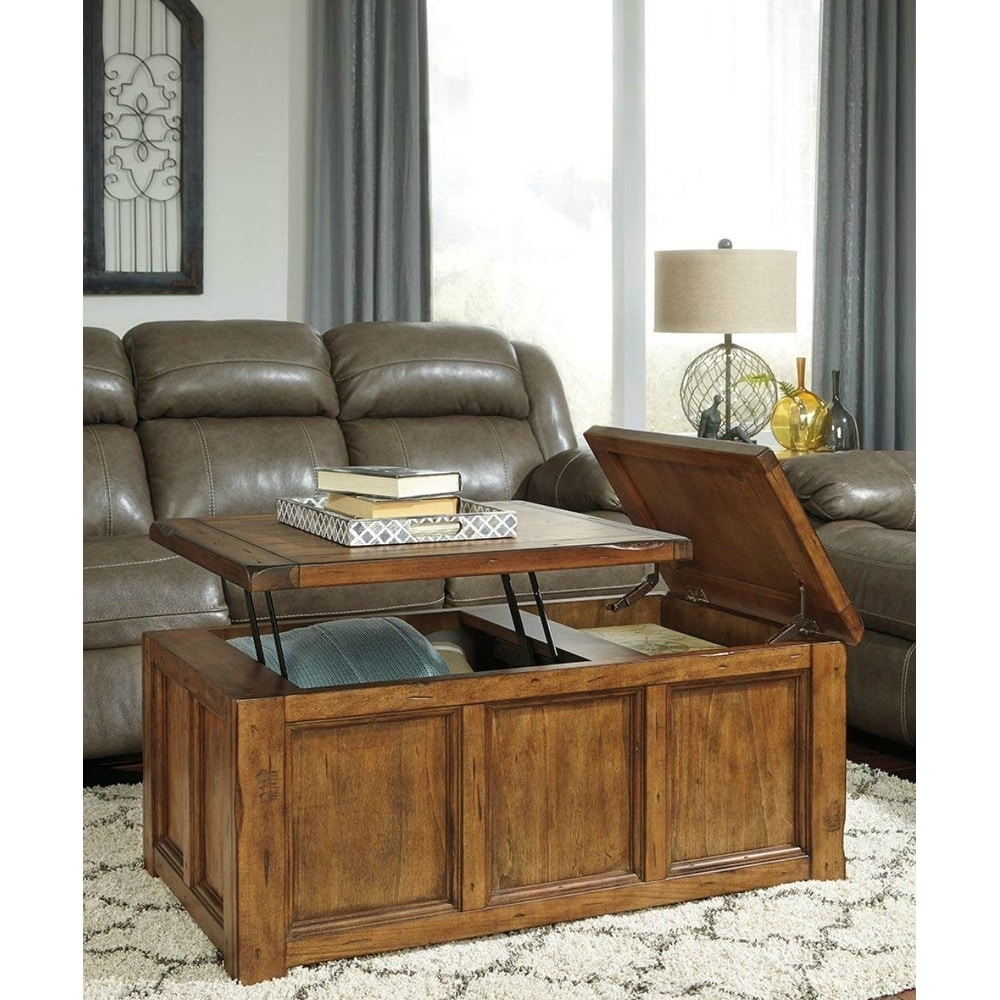 Shop Ashley T830-9 Rustic Finish Coffee Table W/ Chiseled Edges in Chiseled Edge Coffee Tables (Image 23 of 30)