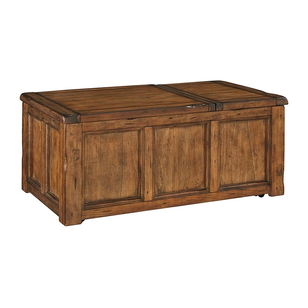 Shop Ashley T830-9 Rustic Finish Coffee Table W/ Chiseled Edges pertaining to Chiseled Edge Coffee Tables (Image 24 of 30)