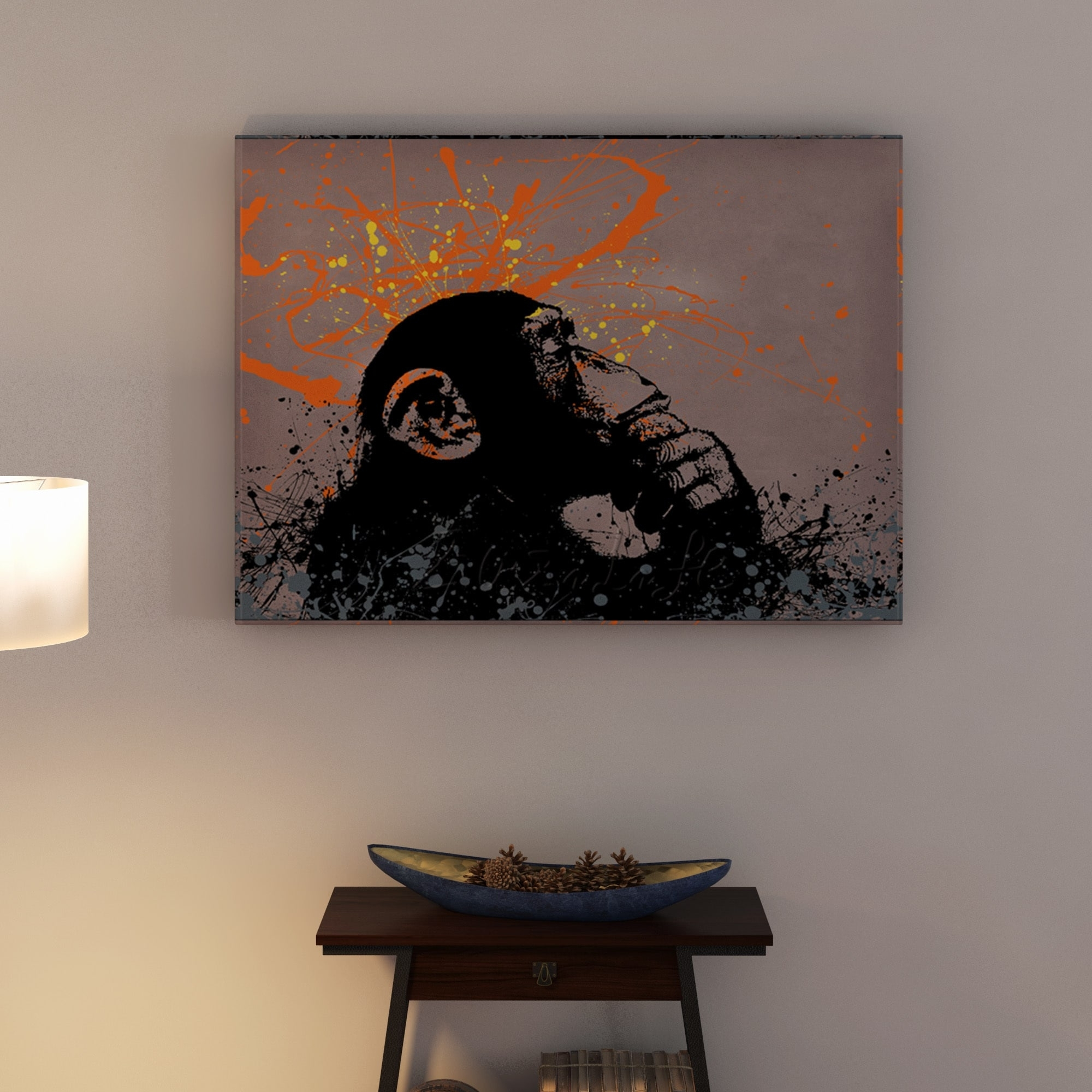 Shop Banksy 'the Thinker' Canvas Wall Art - Free Shipping On Orders pertaining to Overstock Wall Art (Image 8 of 20)