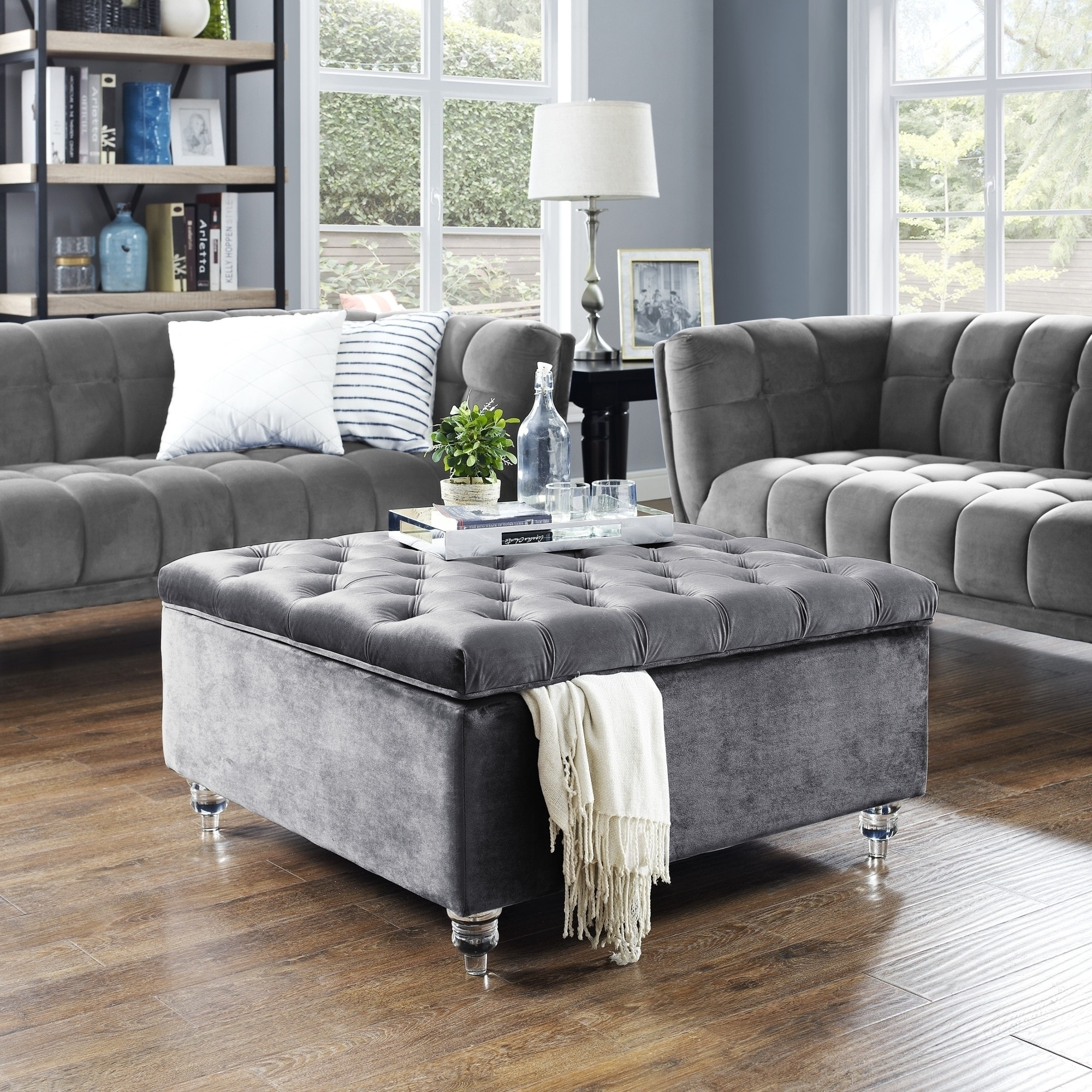 Shop Belini Modern Velvet Button Tufted Storage Ottoman/coffee Table within Button Tufted Coffee Tables (Image 22 of 30)