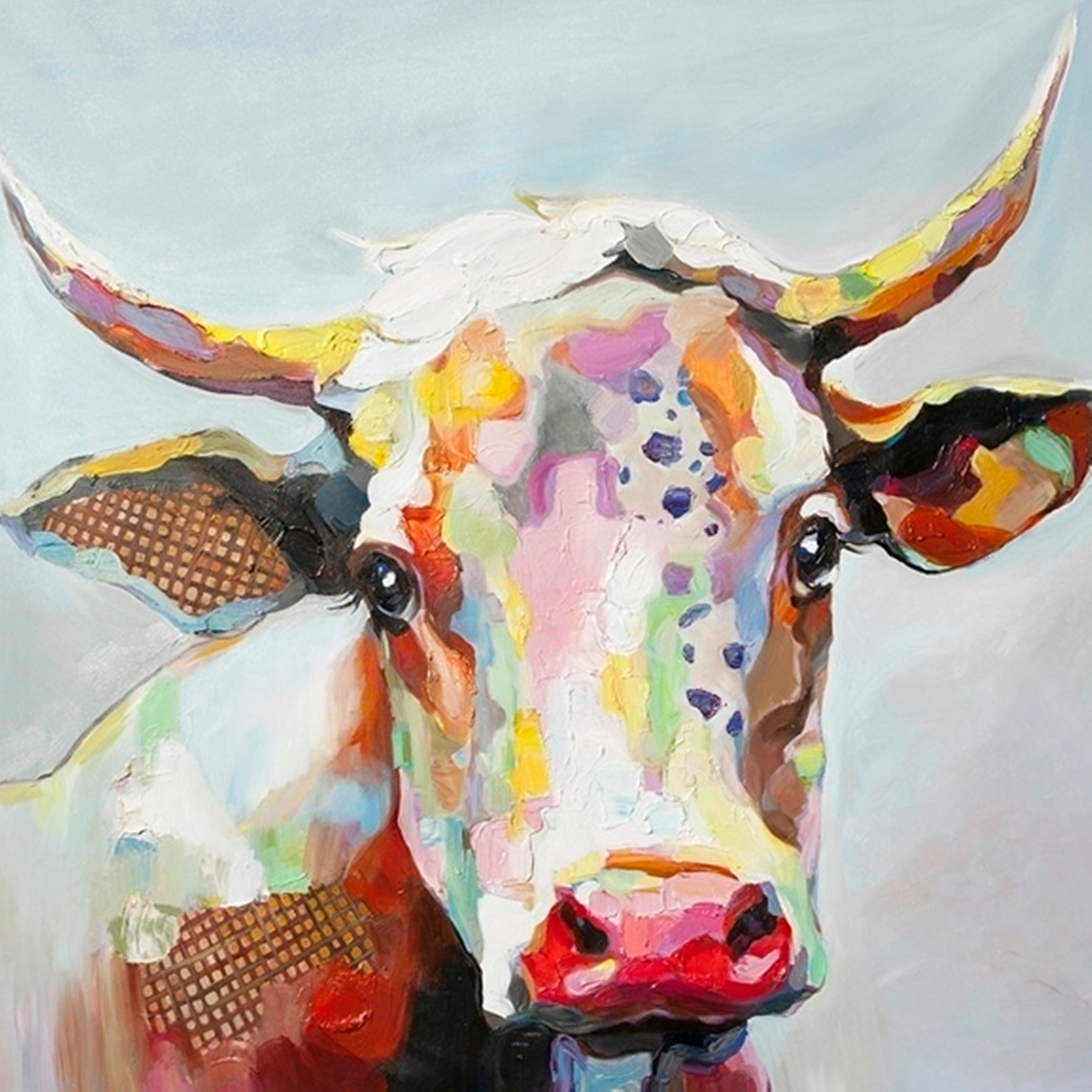 Shop Bessie The Cow Multicolored Stretched Canvas Wall Art - Free pertaining to Cow Canvas Wall Art (Image 18 of 20)
