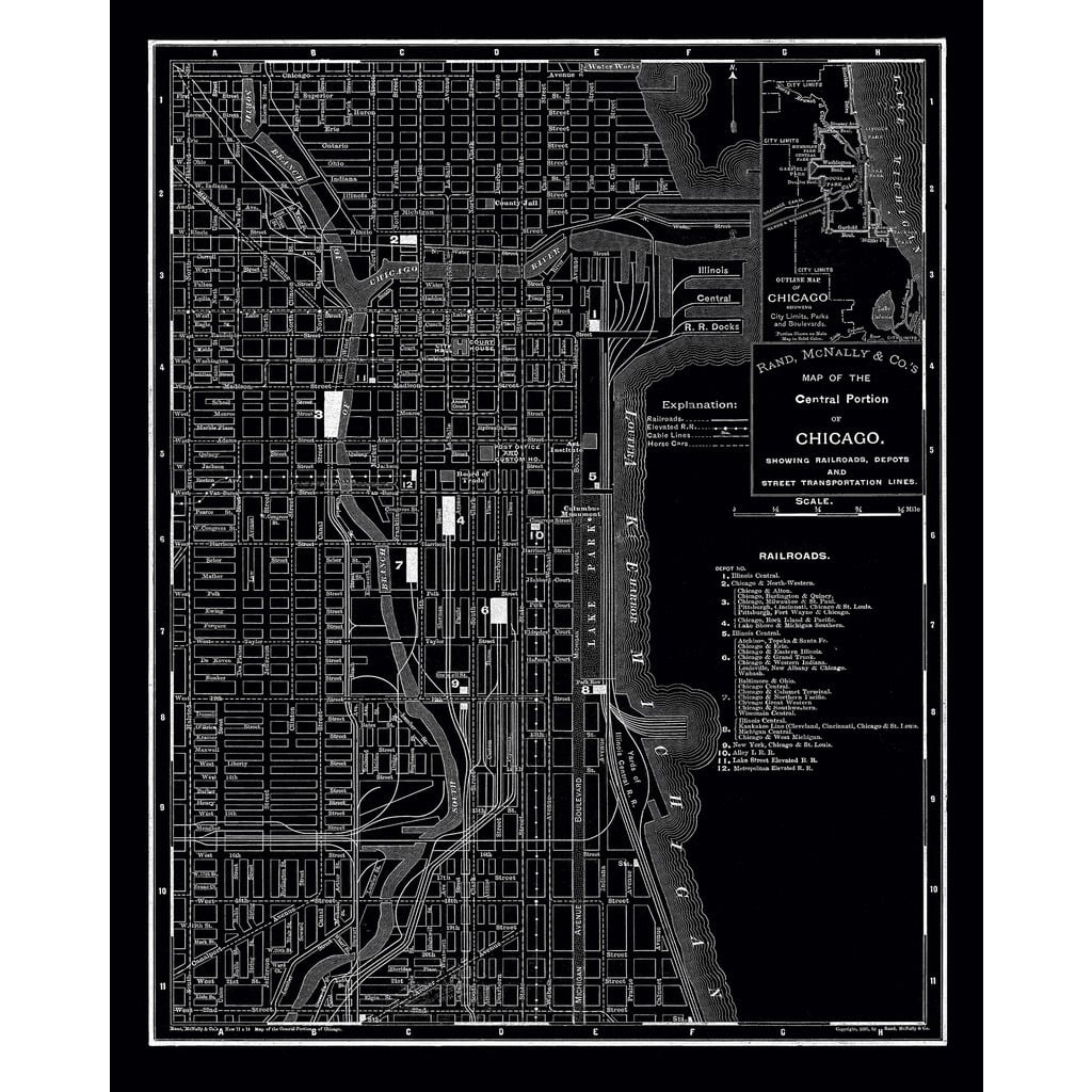 Shop Chicago 1985 Vintage Map Stretched-Canvas Wall Art - On Sale pertaining to Chicago Map Wall Art (Image 17 of 20)