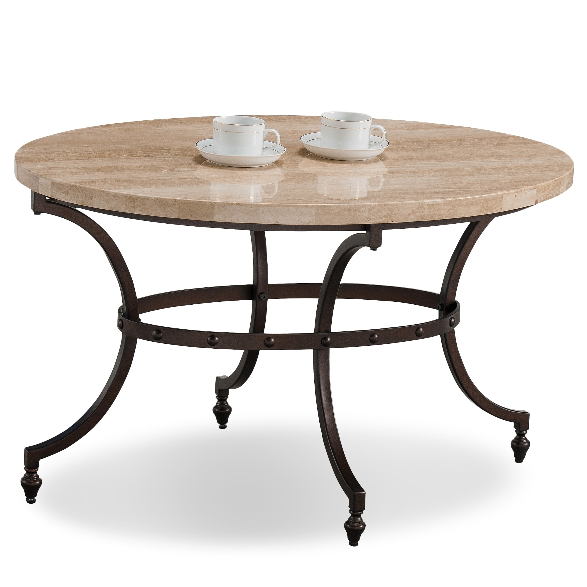 Shop Clay Alder Home Holliwell Oval Travertine Stone Top Coffee Inside Stone Top Coffee Tables (View 19 of 30)