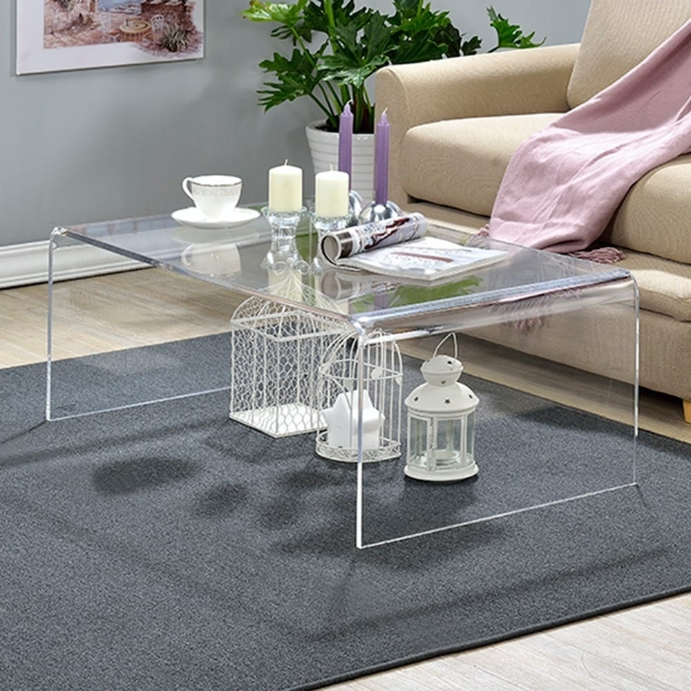 Shop Clear Acrylic Coffee Table - On Sale - Free Shipping Today with regard to Peekaboo Acrylic Tall Coffee Tables (Image 27 of 30)