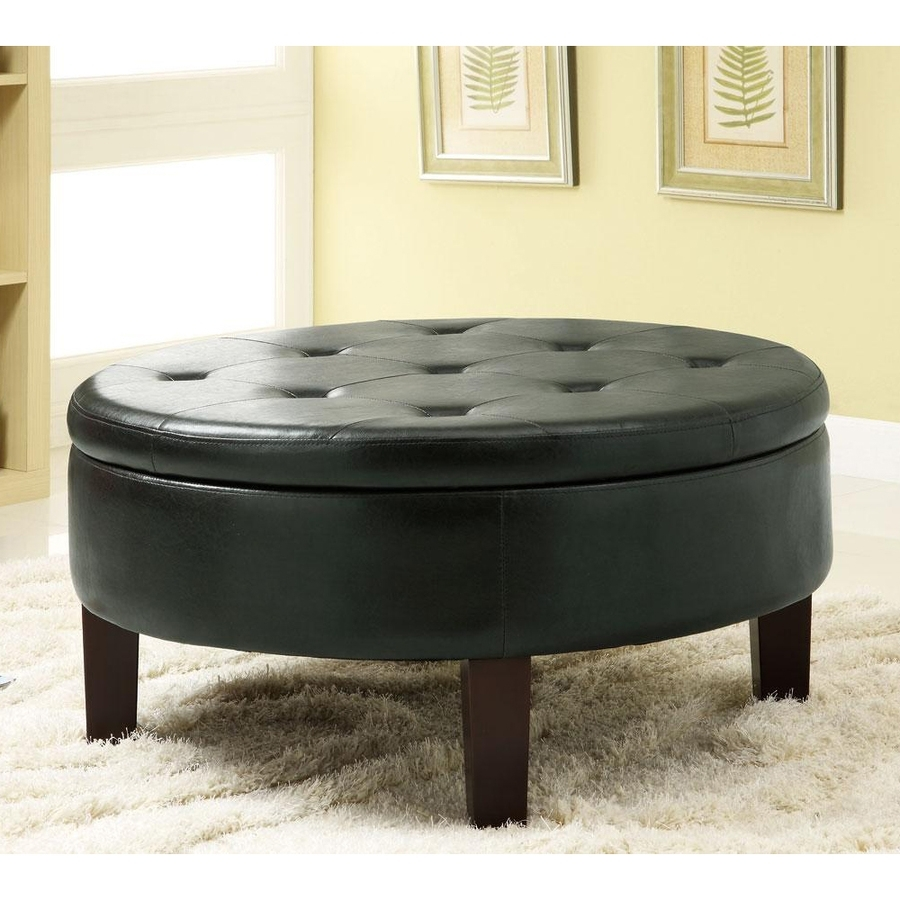 Shop Coaster Fine Furniture Black Vinyl Round Ottoman At Lowes intended for Round Button Tufted Coffee Tables (Image 26 of 30)