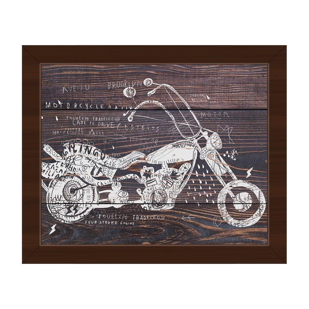 Shop Dark Wood Motorcycle Framed Canvas Wall Art - On Sale - Free intended for Motorcycle Wall Art (Image 18 of 20)