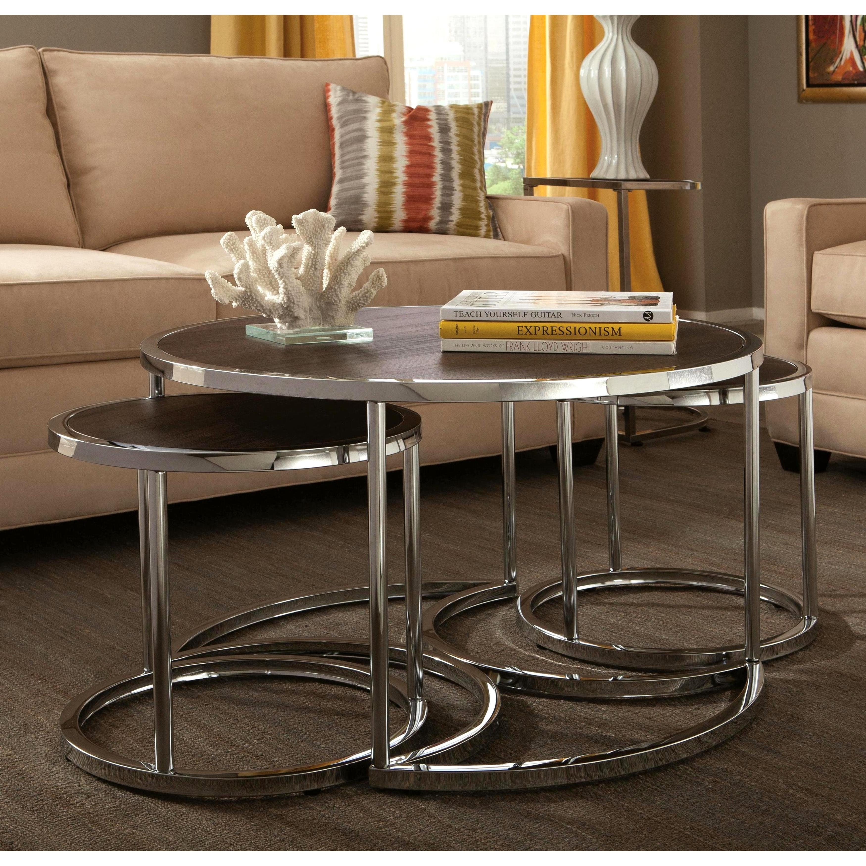 Shop Dorango Modern Chrome 3-Piece Cocktail Round Nesting Table Set inside Expressionist Coffee Tables (Image 23 of 30)