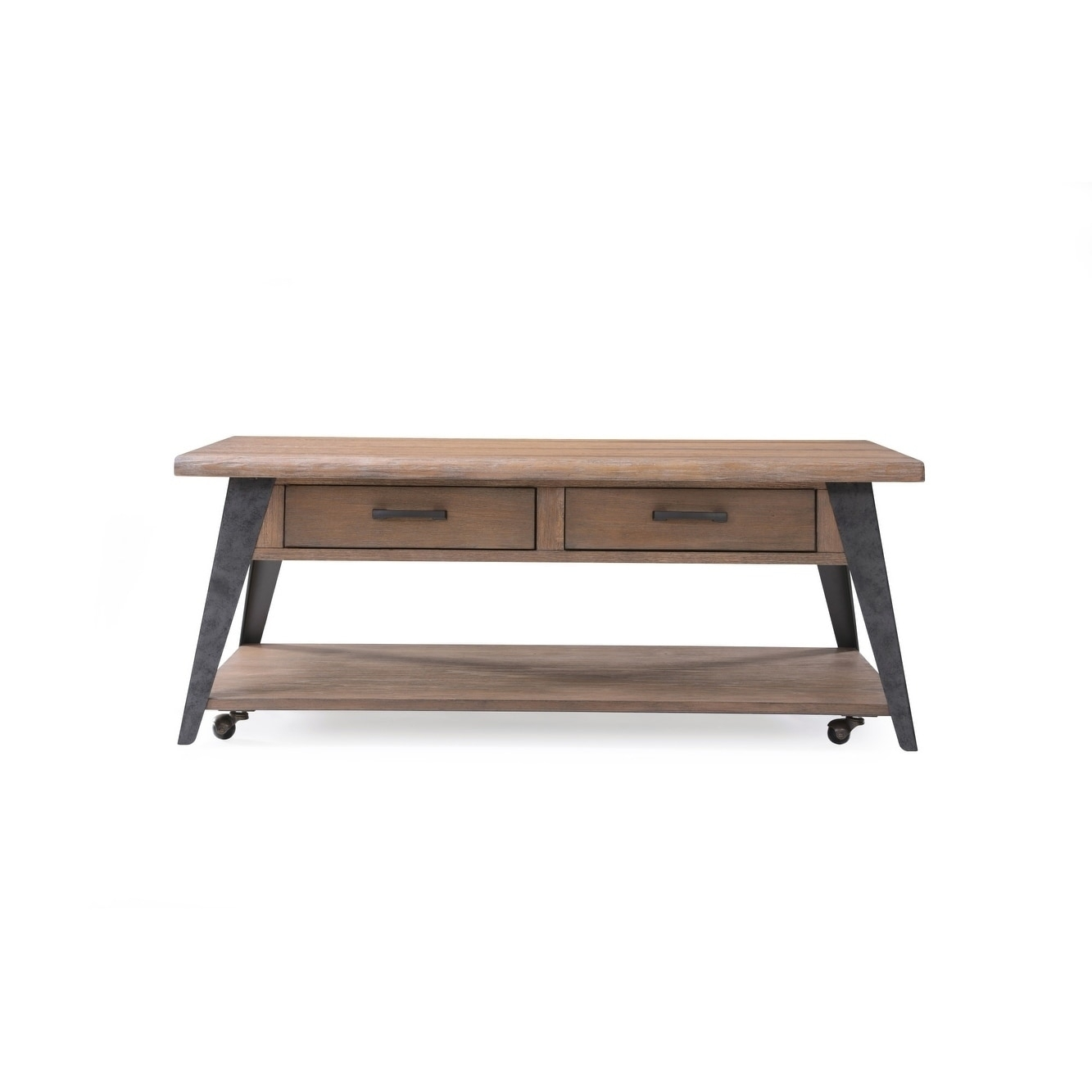 Shop Emerald Home Harper's Mill Weathered Tan Coffee Table - Free within Mill Coffee Tables (Image 26 of 30)