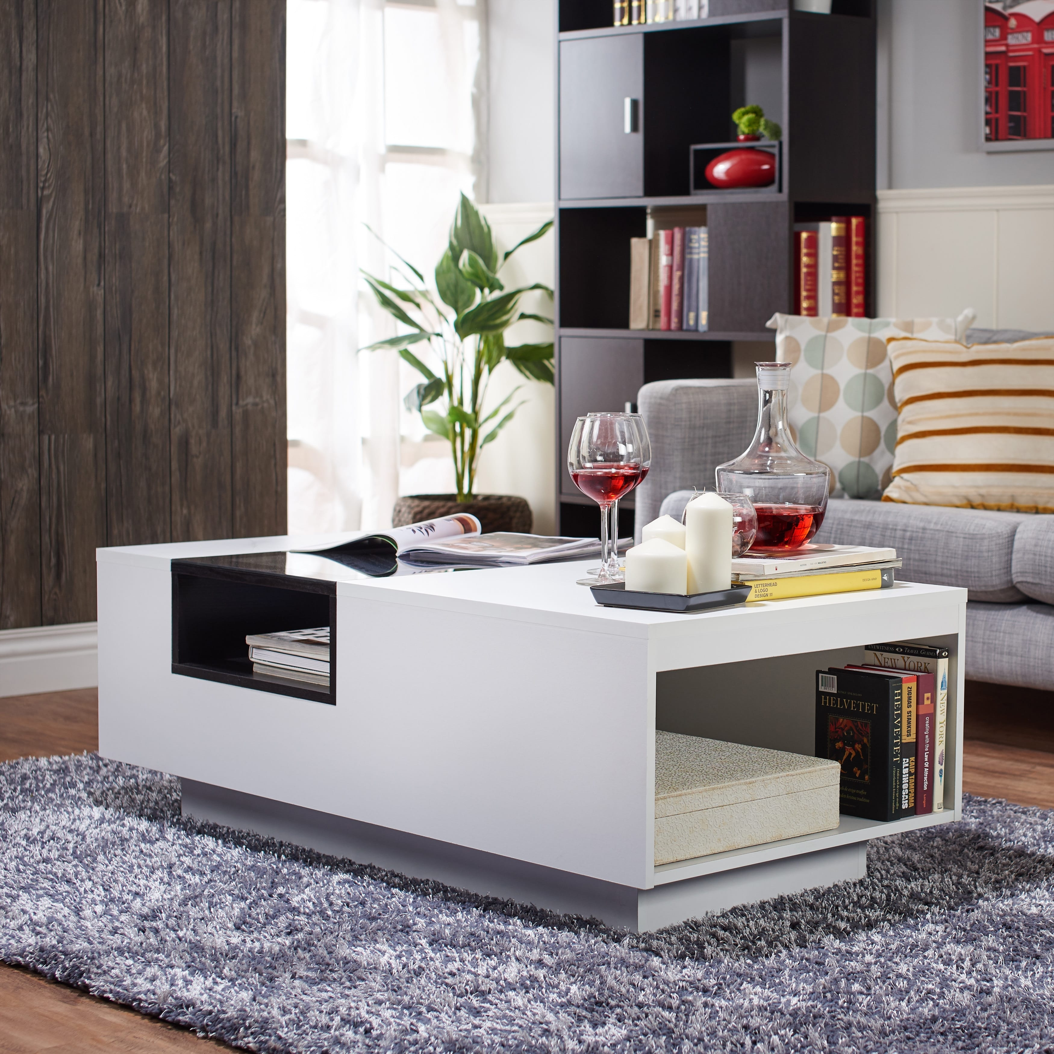 Shop Furniture Of America Kassalie Modern Two-Tone White/black Glass within 2 Tone Grey And White Marble Coffee Tables (Image 26 of 30)