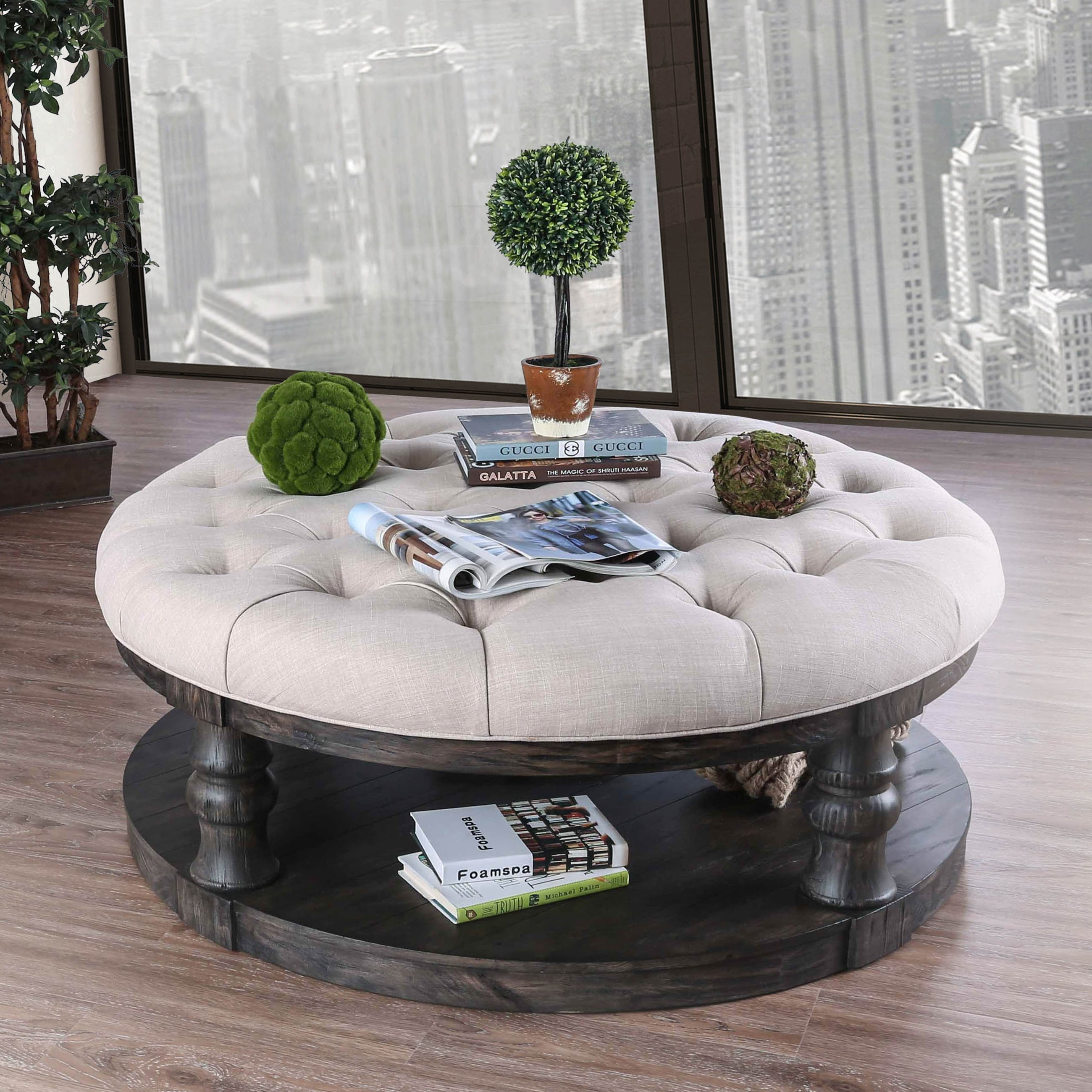 Shop Furniture Of America Patterson Rustic Button Tufted Coffee intended for Round Button Tufted Coffee Tables (Image 27 of 30)