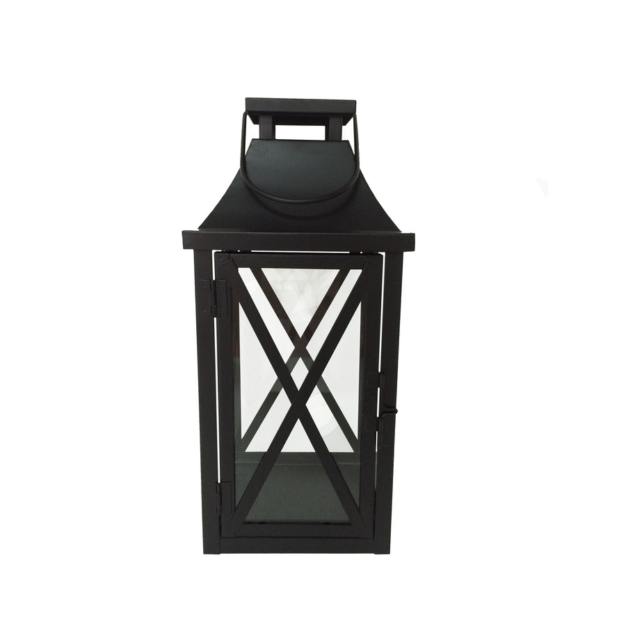 Shop Garden Treasures 5.5-In X 12-In Black Metal Pillar Candle throughout Outdoor Lanterns For Pillars (Image 19 of 20)