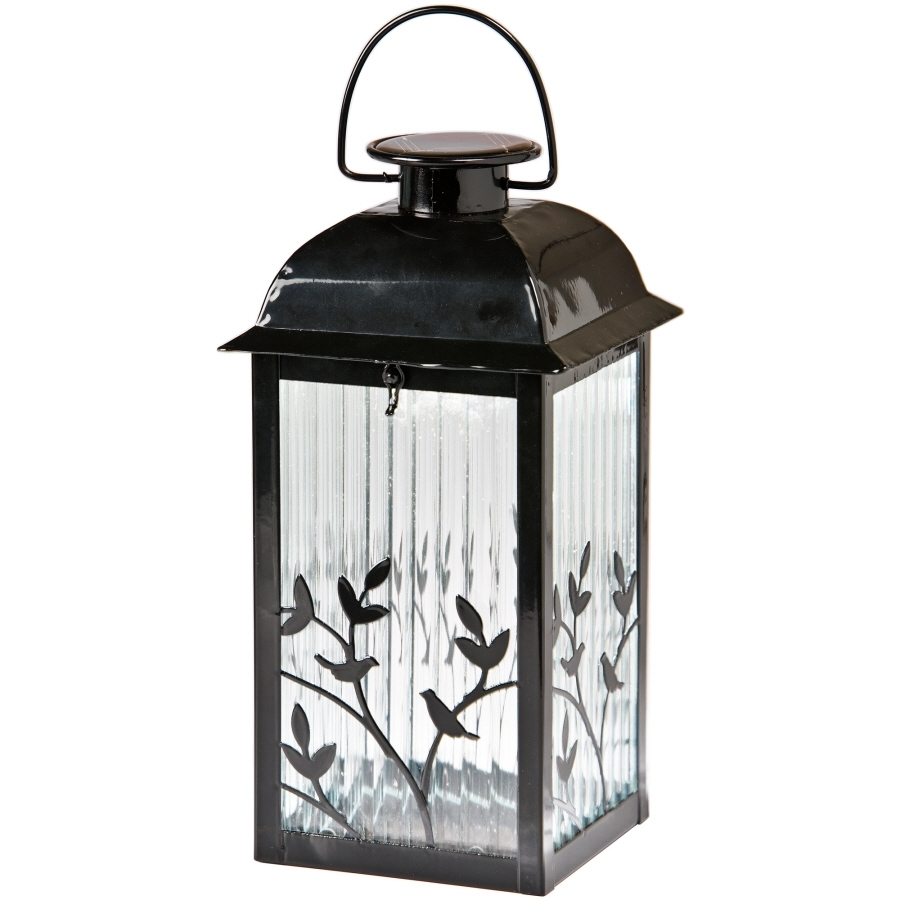 Shop Gemmy 5.3-In X 12.2-In Black Glass Solar Outdoor Decorative pertaining to Outdoor Glass Lanterns (Image 18 of 20)