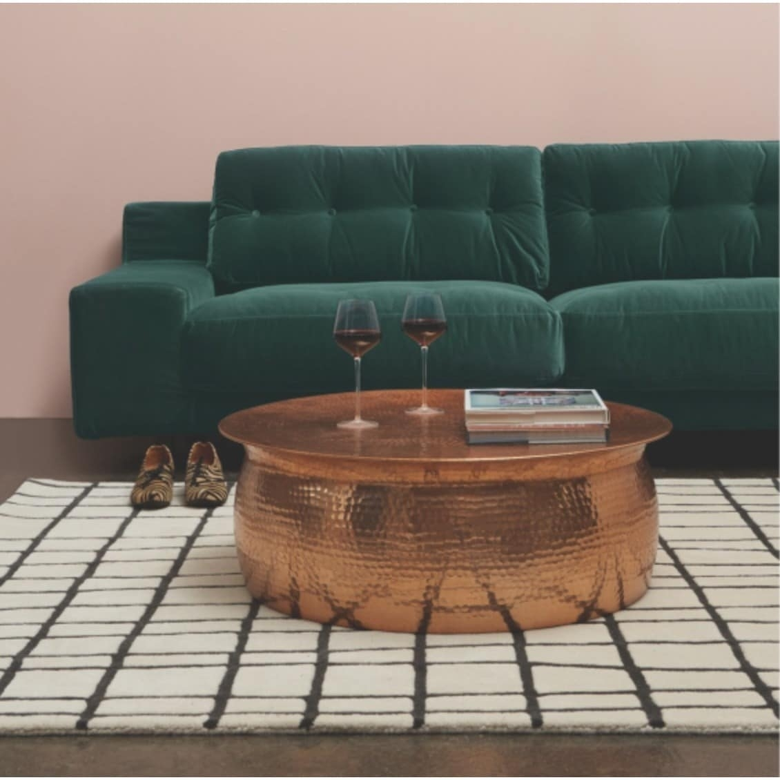 Shop Hammered Rose Gold Finish Coffee Table - Free Shipping Today inside Cuff Hammered Gold Coffee Tables (Image 21 of 30)